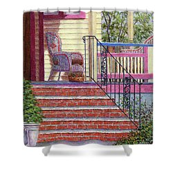 Porch With Basket Shower Curtain by Susan Savad