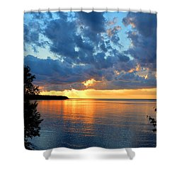 Porcupine Mountains Sunset Shower Curtain by Keith Stokes