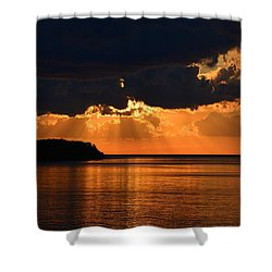 Porcupine Mountains Superior Sunset Shower Curtain by Keith Stokes