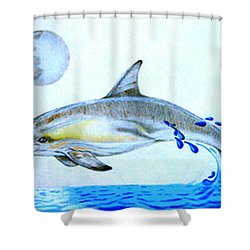 Shower Curtain featuring the drawing Porpoise by Mayhem Mediums