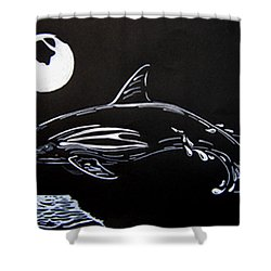 Shower Curtain featuring the drawing Porpoise Sillhouette by Mayhem Mediums