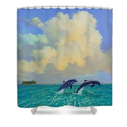 Porpoiseful Play Shower Curtain