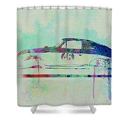 Porsche 356 Watercolor Shower Curtain by Naxart Studio