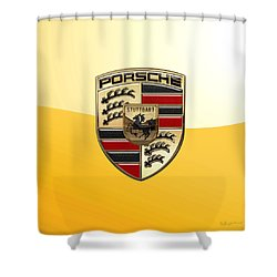 Porsche - 3d Badge On Yellow Shower Curtain by Serge Averbukh