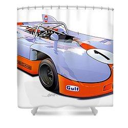 porsche 908 GULF illustration Shower Curtain