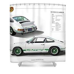 Porsche 911 Carrera Rs Illustration Shower Curtain by Alain Jamar