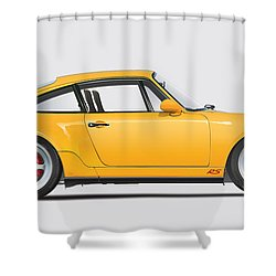 Porsche 964 Carrera Rs Illustration In Yellow. Shower Curtain