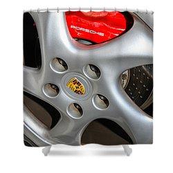 Shower Curtain featuring the photograph Porsche Brakes by Robert Hebert