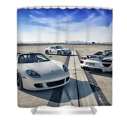 Shower Curtain featuring the photograph #porsche #carreragt,  #918spyder,  #cayman #gt4 by ItzKirb Photography