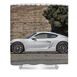 Shower Curtain featuring the photograph Porsche Cayman Gt4 Side Profile by ItzKirb Photography