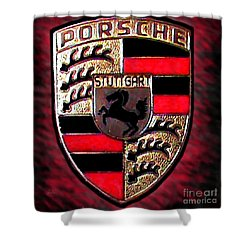 Porsche Emblem Shower Curtain by George Pedro