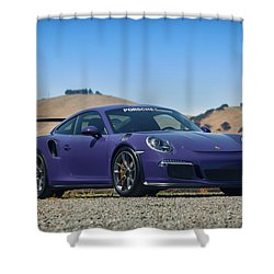 Shower Curtain featuring the photograph #porsche #gt3rs #ultraviolet by ItzKirb Photography