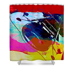 Porsche Watercolor Shower Curtain by Naxart Studio