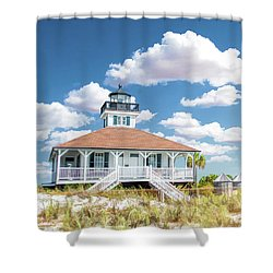 Shower Curtain featuring the painting Port Boca Grande Lighthouse by Christopher Arndt