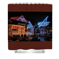 Shower Curtain featuring the photograph Port Cafe Wildwood by Kristia Adams