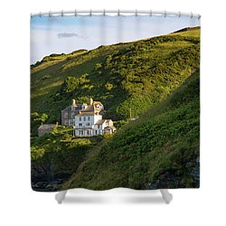 Shower Curtain featuring the photograph Port Isaac Homes by Brian Jannsen