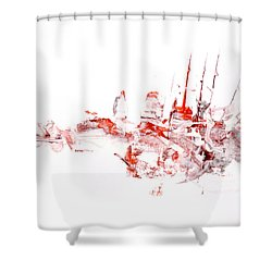 Port - Mixed Media Abstract Painting  Shower Curtain