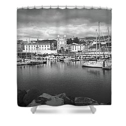 Port Of Angra Do Heroismo, Terceira Island, The Azores In Black And White Shower Curtain by Kelly Hazel
