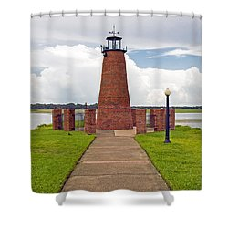 Port Of Kissimmee Lighthouse In Central Florida Shower Curtain by Allan  Hughes