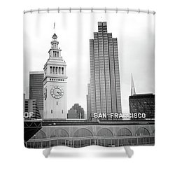 Port Of San Francisco Black And White- Art By Linda Woods Shower Curtain by Linda Woods