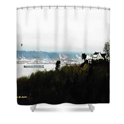 Port Of Tacoma At Ruston Wa Shower Curtain by Sadie Reneau