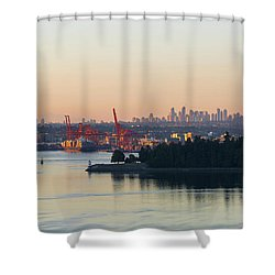 Port Of Vancouver By Stanley Park Shower Curtain by David Gn