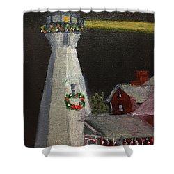 Port Sanilac Lighthouse At Christmas Shower Curtain