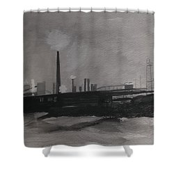 Port Talbot Steel Works Shower Curtain by Carole Robins
