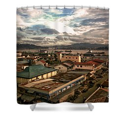 Port View At River Mahakam Shower Curtain by Charuhas Images