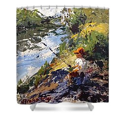 Porter Fishing Under The Cypress Trees Shower Curtain