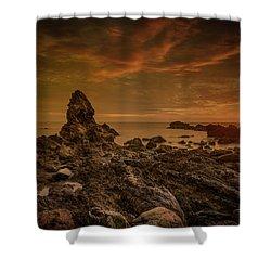 Porth Saint Beach At Sunset. Shower Curtain