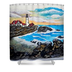 Porthead Lighthouse Maine In Watercolors Shower Curtain