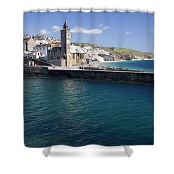 Porthleven Harbour Mouth Cornwall Uk Shower Curtain