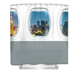 Porthole Frame On Tokyo Tower Shower Curtain