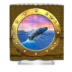 Porthole View Of Breaching Whale Shower Curtain by Glenn Holbrook