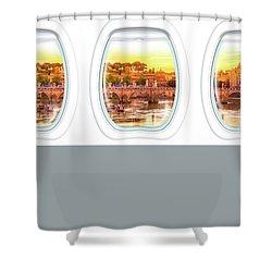 Porthole Windows On Rome Shower Curtain