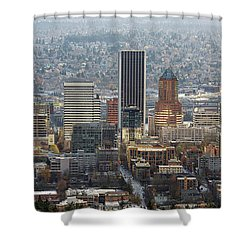 Portland City Downtown Cityscape Panorama Shower Curtain by David Gn