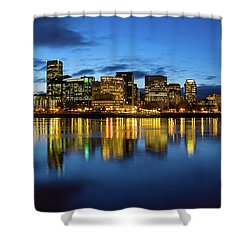 Portland City Skyline Blue Hour Panorama Shower Curtain by David Gn
