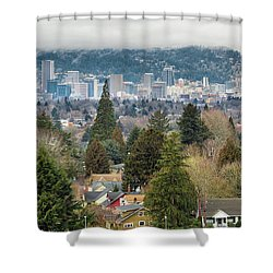 Portland City Skyline From Mount Tabor Shower Curtain by David Gn