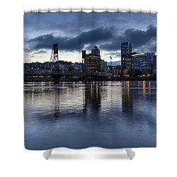 Portland City Skyline With Hawthorne Bridge At Dusk Shower Curtain by David Gn