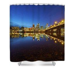 Portland Downtown Blue Hour Shower Curtain