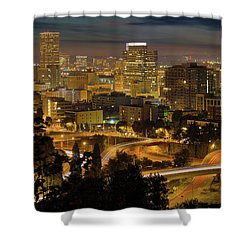 Portland Downtown Cityscape And Freeway At Night Shower Curtain