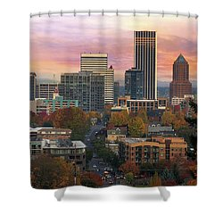 Portland Downtown Cityscape During Sunrise In Fall Shower Curtain