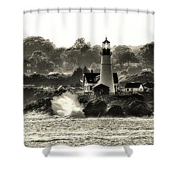 Portland Head Light At Cape Elizabeth In Black And White Shower Curtain
