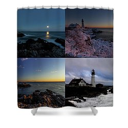 Portland Head Light Day Or Night Shower Curtain