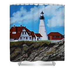 Portland Head Light In Maine Viewed From The South Shower Curtain