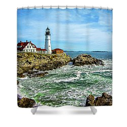 Portland Head Light - Oldest Lighthouse In Maine Shower Curtain