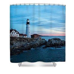 Portland Head Lighthouse At Sunrise Shower Curtain