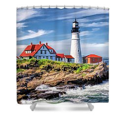 Shower Curtain featuring the painting Portland Head Lighthouse by Christopher Arndt
