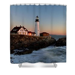 Portland Head Lighthouse Sunrise Shower Curtain